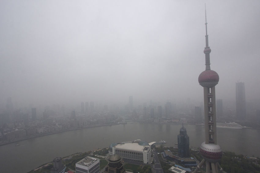Architecture China City Cityscapes Development Famous Place Foggy Horizon Over Land International Landmark Landscape Outdoors Pearl Tower  Poluted Poluted Earth Polution Shanghai Shanghai, China Skyscrapers Skyscrapers In The Clouds Urban