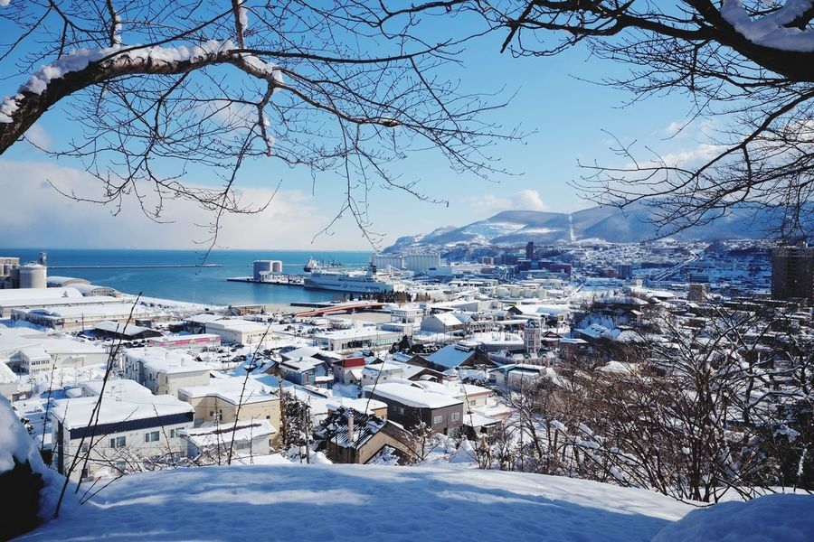 sunny day in Otaru Otaru Japan Hokkaido Japan Photography Snow Winter Sea Cold Temperature Mountain Outdoors Sky Nature Water Scenics Day No People Landscape Tranquility Beauty In Nature Travel Destinations Clear Sky Countryside Idyllic Non-urban Scene Ocean Calm Waterfront Tranquil Scene Scenic View