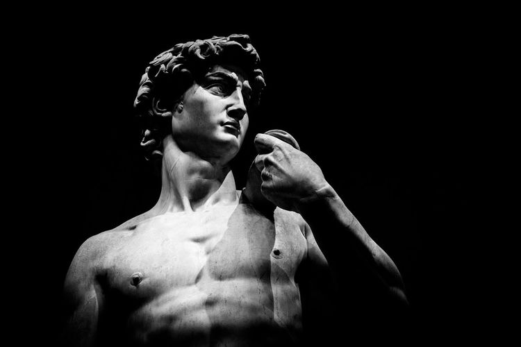 Florence david Michelangelo Art Italo renaissence Blackandwhite Lifestyles Cut Out Strength Young Adult Indoors  Young Men Healthy Lifestyle Front View Portrait Beautiful People Men Copy Space Waist Up Looking