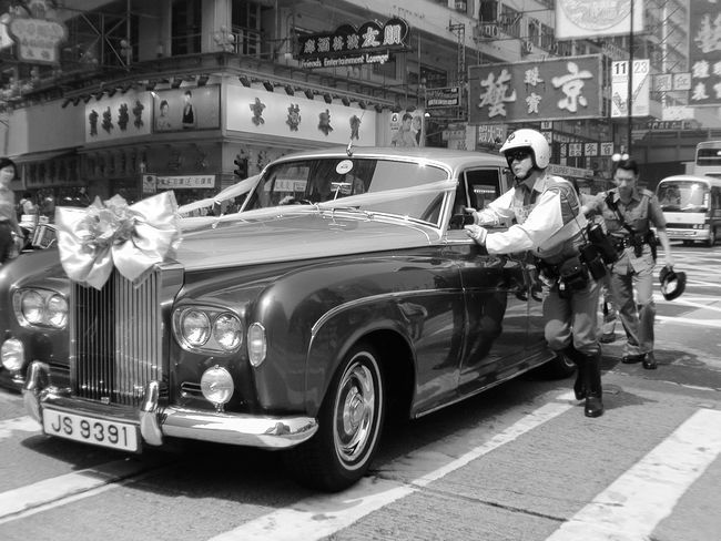 Black And White City Life Culture Helping Police Urban Wedding Hong Kong 2003