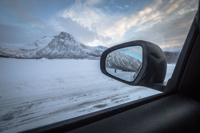 Arctic Car Car Interior Cloud Cloud - Sky Cold Temperature Day Land Vehicle Mode Of Transport Mountain Mountain Range Northern Norway Norway Outdoors Road Scenics Side-view Mirror The Great Outdoors - 2017 EyeEm Awards Snow Street The Way Forward Tranquil Scene Transportation Travel Water