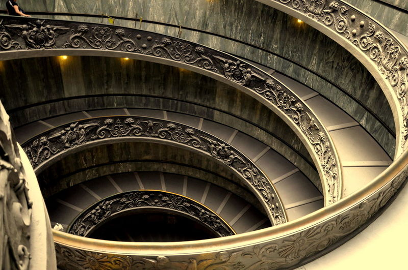 High Angle View Of Spiral Staircase In Vatican Museums