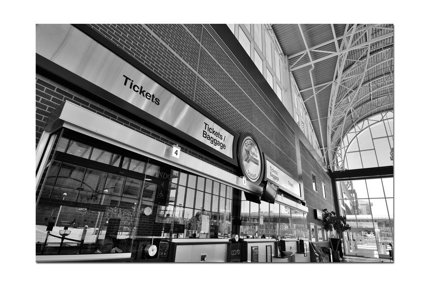 Train Terminal 4 C.L. Dellums Amtrak Station Okj Est. 1995 Jack London Square Port Of Oakland,Ca. Train Terminal Lines: Capitol Corridor, Coast Starlight, San Joaquin Platform & Track Union Pacific Railroad Architecture Modern Architectural Feature Glass,Steel, Stone Arches Windows Doorways Monochrome_Photography Monochrome Black & White Black & White Photography Black And White Black And White Collection  Ticket Window Reflections Text Passenger Train Rail Transportation Information Sign Railroad Station The Architect - 2018 EyeEm Awards