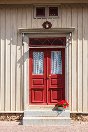 Red door on an old house