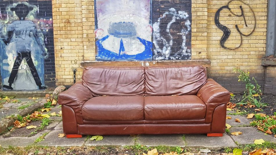 Take A Seat Granby Leather Sofa Street Art Sofa Multi Colored Street Art Ghetto Graffiti Wall - Building Feature Architecture Building Exterior Built Structure Spray Paint Vandalism Hip Hop Worn Out Aerosol Can Art Brick Wall Decline Spray Bottle Mosaic Mural