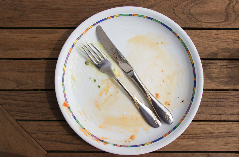 Eating Sign Barbecue Crockery Directly Above Eaten Eating Utensil Empty Empty Plate Food Food And Drink Fork High Angle View Household Equipment Kitchen Utensil Knife Leftovers No People Outdoors Plate Still Life Stop Table Table Knife Wood - Material