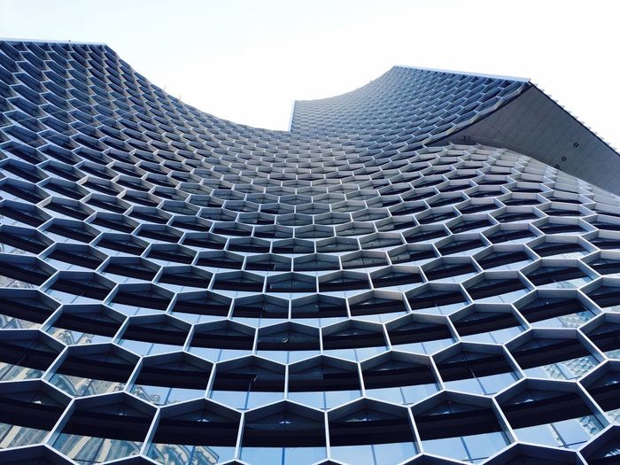 Low Angle View Building Exterior Construction Site Modern Architecture Mixed Development Aluminum Material Low Angle View Facade Detail IPhoneography Honeycomb Pattern The Architect - 2017 EyeEm Awards