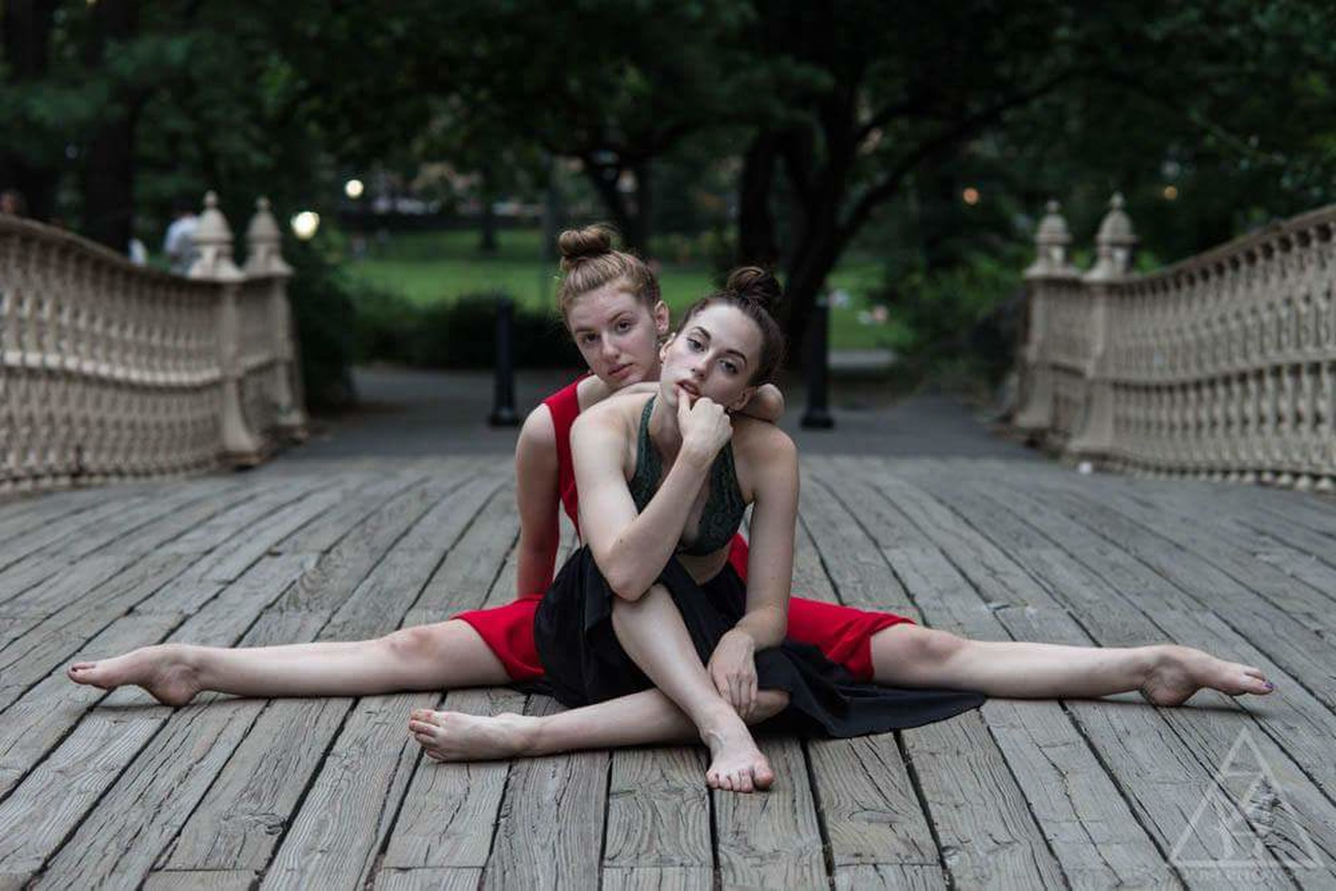 two people, togetherness, smiling, full length, red, sitting, outdoors, teenager, child, happiness, childhood, girls, ballet, summer, exercising, people, young women, ballet dancer, day, looking at camera, young adult, females, friendship, portrait, beauty, flexibility, adult