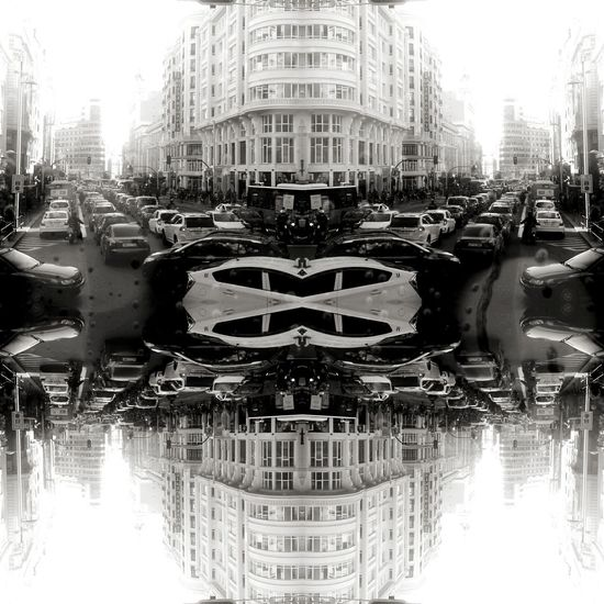 Welcome To Black City Life City Street Confusion Illusion. Reflection Symmetry