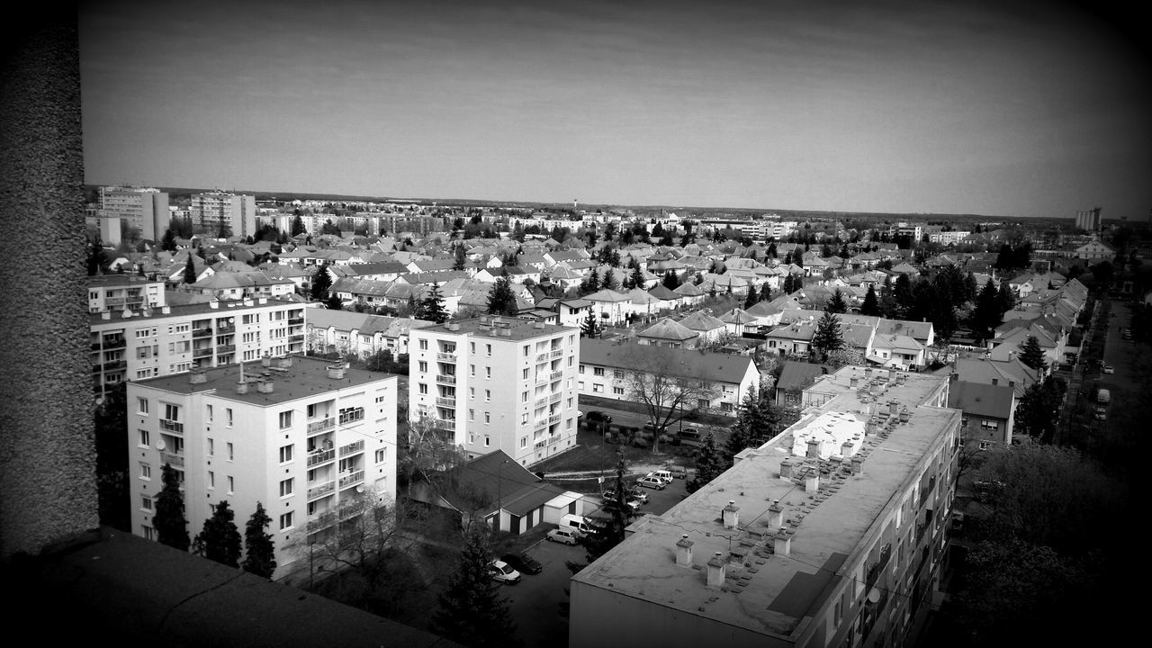 architecture, building exterior, built structure, high angle view, city, cityscape, vignette, no people, day, outdoors, sky, clear sky, tree
