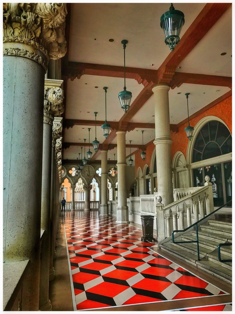 indoors, architectural column, corridor, no people, architecture, day