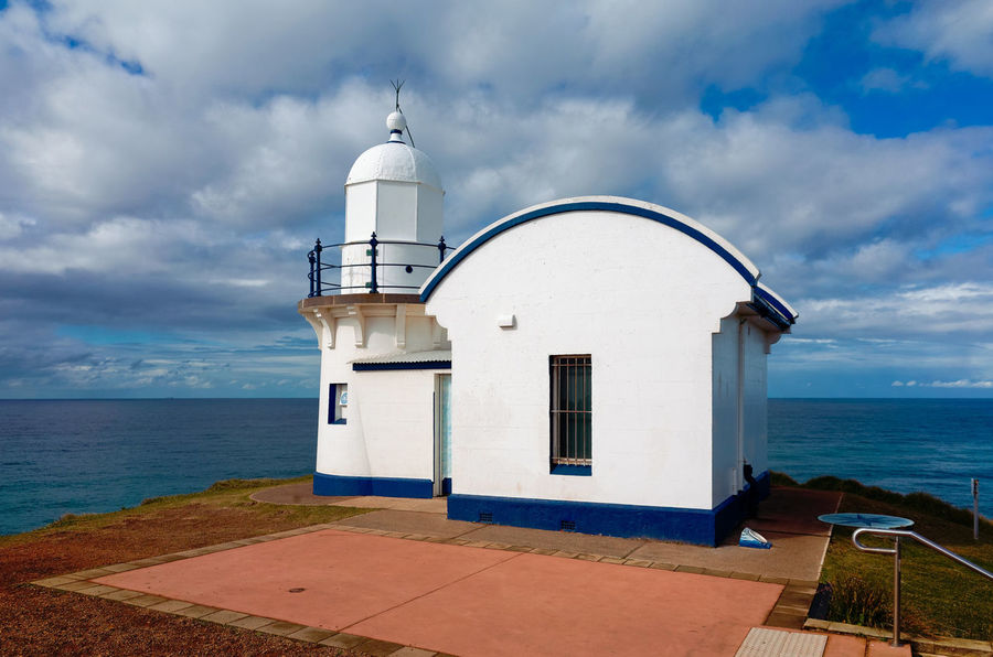 White and blue lighthouse. Sea Beach Water Cloud - Sky Horizon Over Water Vacations Lighthouse No People Architecture Nature White Blue Port Macquarie SandPort Macquarie Lifeguard  Sky Lifeguard Hut Summer Travel Destinations Day Outdoors Wave Australia