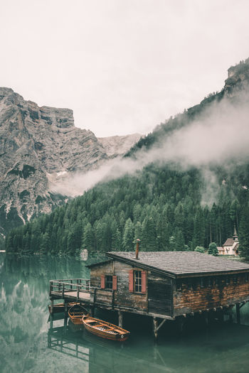 Boat house at Lago di Breies Alto Adige Boat Boathouse Boats Braies Cloud Clouds Dreamy Famous Place House Italy Lago Di Braies Mood Morning Nature Peace Peaceful Peaceful View Prags Pragserwildsee Quiet Moments South Tyrol Südtirol Tranquility Vibes