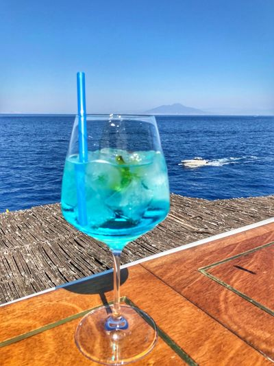 Cocktail Sea Water Glass Drink Refreshment Horizon Over Water Horizon Drinking Glass Food And Drink