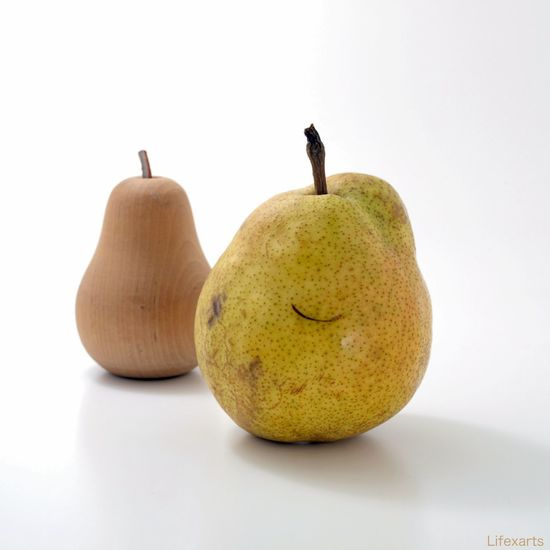 Please smile. La France Distorted Food Fruit Pear Ripe Scratch Smile Still Life Studio Shot White Background
