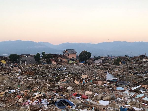Palu Aftermath Earthquake Disaster Sky Mountain Architecture Built Structure Nature Sunset Building Exterior Mountain Range City Outdoors Copy Space
