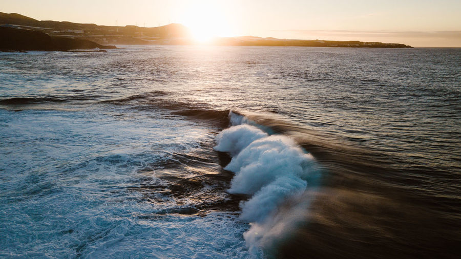 sunset view Water Sunset Sea Motion Beauty In Nature Scenics - Nature Nature Wave Surfing Beach Outdoors Power In Nature Flowing Water Wave Waves Waves, Ocean, Nature Waves Crashing Drone  Dronephotography Nature Ocean Sunset_collection EyeEmNewHere EyeEm Best Shots EyeEm Nature Lover