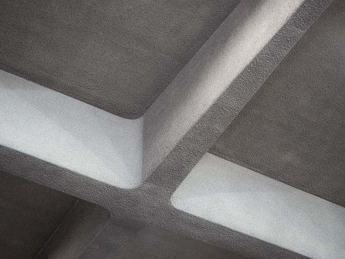 No People Pattern Indoors  Architecture Full Frame Low Angle View Backgrounds Built Structure Textured  Close-up Design Ceiling Corner Concrete Angle Directly Below Cross Geometric Shape Geometry Abstract Architectural Detail Grey Gray Stability Architectural Design Architecture And Art Abstract Backgrounds Square Shape