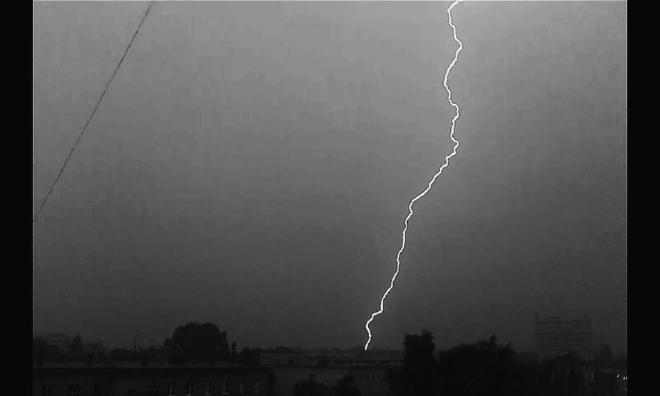 Windowview Storm Stormy Weather Lightning Black & White