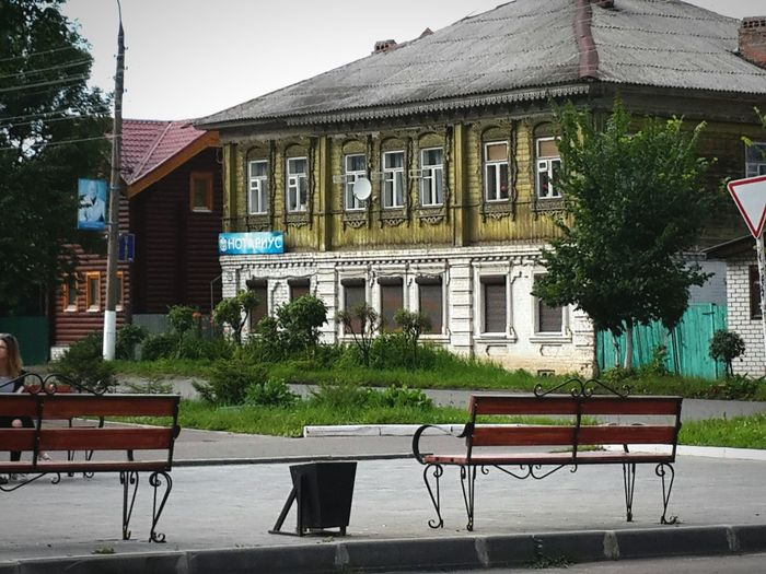 Building Exterior Architecture Built Structure Window Tree Chair Outdoors No People Façade Day Table Vertical Sky Benches Gorokhovets Russia
