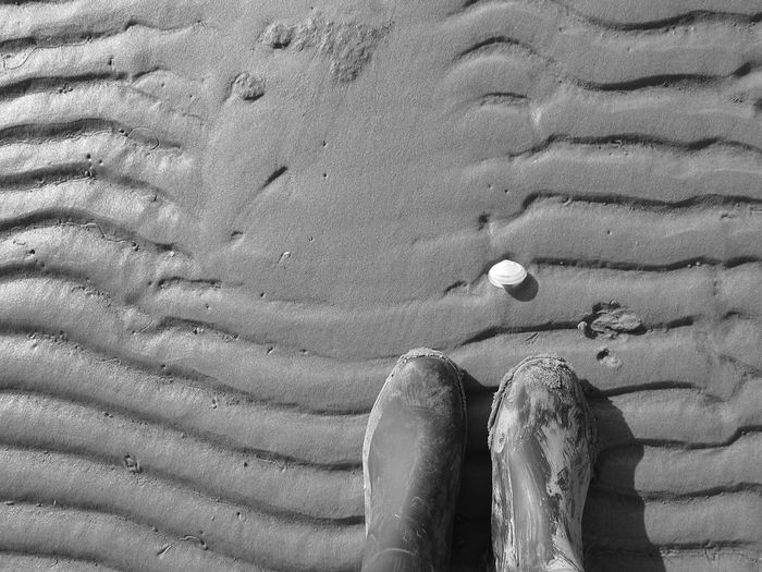 Directly Above Shot Of Boots On Beach