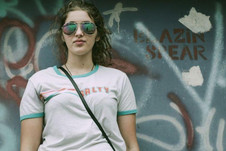 Graffiti Street Art Sunglasses Attitude Teenager City Spray Paint People Adult Day Portrait Outdoors One Person