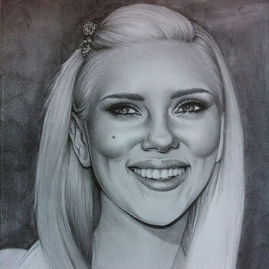 Unfinished drawing of Scarlett Johansson