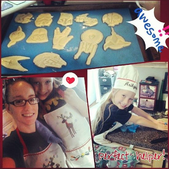 Baking Star Trek and Star Wars cookies. Cutting them out at the top, not cooked yet. Arilynn is awesome to bake with, and we're wearing the matching aprons that were the other part of our early Christmas gift to go with the cookie cutters. Couldn't leave out Star Trek though so grabbed those cutters to use too. :D Baking Startrek Starwars SugarCookies cookies love makingmemories mommysgirl dundundun messy fun baker christmaseve