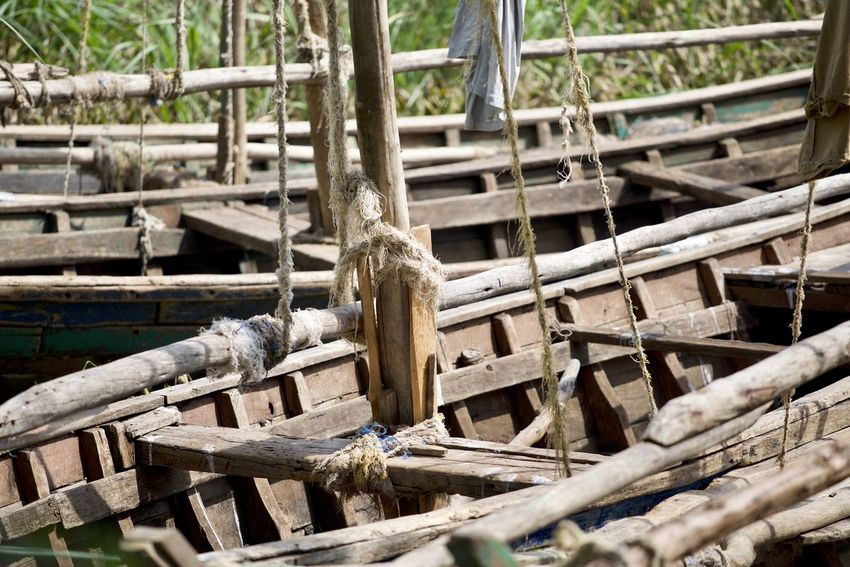 Boat Close-up Day Deforestation Log Lumber Industry Nature No People Outdoors Stack Timber Traditional Fishing Boat Tree Wood - Material