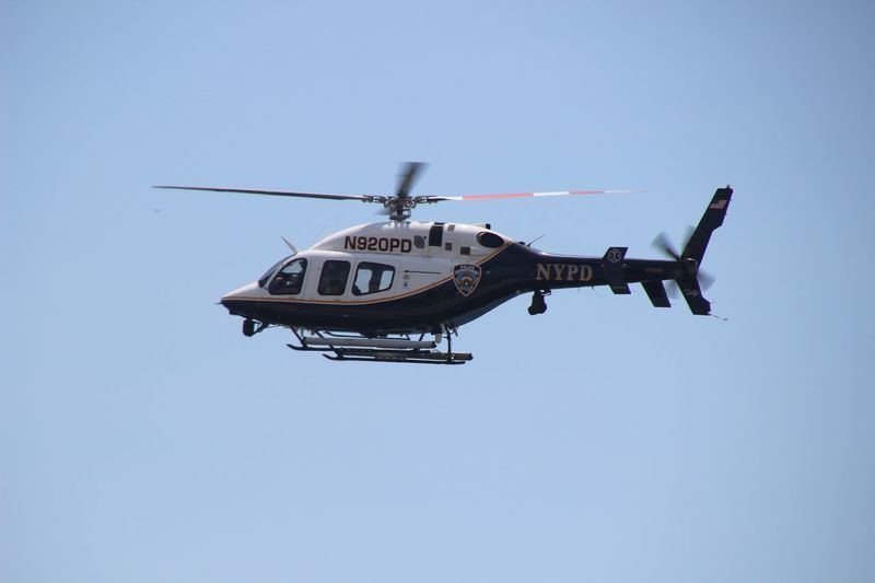 Helicopter Transportation Clear Sky Flying Mid-air Blue Sky No People