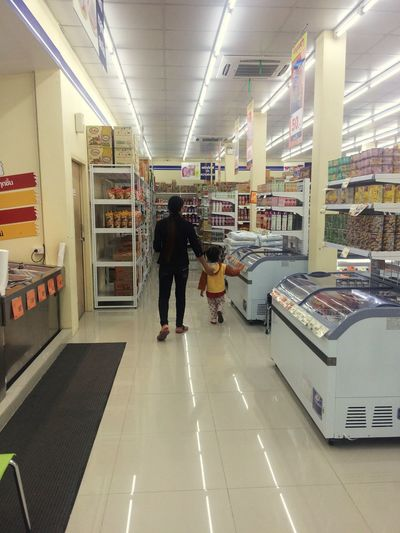 Full Length Real People Rear View One Person Men Indoors  Illuminated Day Morther And Daugher Shopping Mall Innocence Baby Lifestyles Thailand