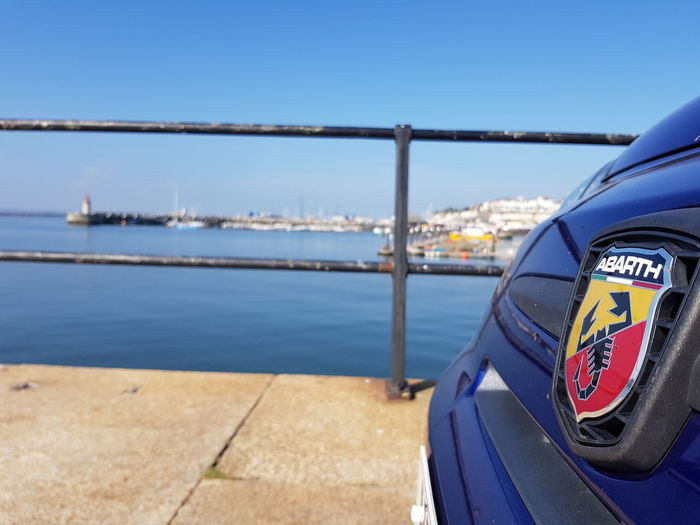 Fiat at Harbour Fiat 500 Abarth Fiat Fiat500 Car Badges Blue Blue Sea Ramsgate Ramsgate Royal Harbour Pier Boats Pontoon Water Sea Coin-operated Binoculars Nautical Vessel Sky Close-up