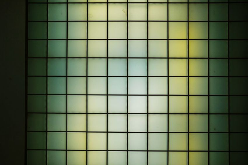 Cieling Neon Light Squares Symmetry Abstract Minimalism Urban Lighting Interior Green Multicolored Ink Backgrounds Full Frame Pattern Grid Textured  Close-up Architecture Geometry Geometric Shape Tile Repetition LINE Architectural Detail