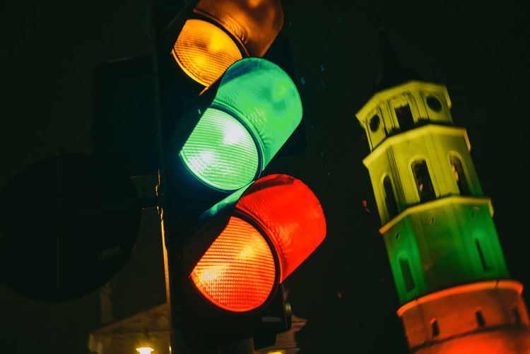 Traffic Lights Close-up Abstract Street Signal Colorful Green Yellow Red Taffic Lights Europe