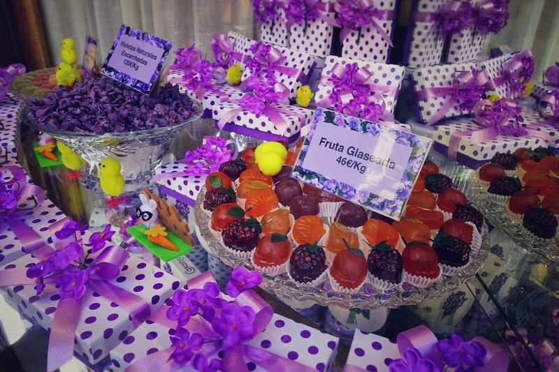 For Sale Choice Retail  No People Large Group Of Objects Retail Display La Violeta Candy Madrid SPAIN Gift Special Lavander Valentine's Day  Valentine's Day - Holiday Easter Easter Egg Easter Eggs Sparing Gift Box Tasty Violet Flowers Violet Violet Color Easter Egg Hunt Candy Store Display Sweet Window Display Birthday Present
