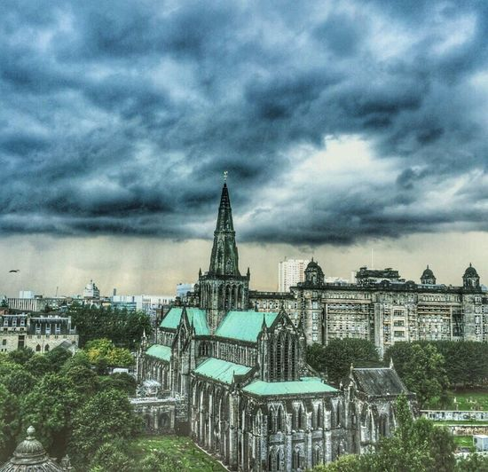 Cloud - Sky Architecture Sky Built Structure Building Exterior No People Outdoors Storm Cloud Day Tree Cityscape City Nature The Week On EyeEm Eye Em Scotland Eyeem Scotland  Scotland Glasgow Necropolis Glasgow Cathedral Glasgow  Architecture Spirituality Tranquil Scene