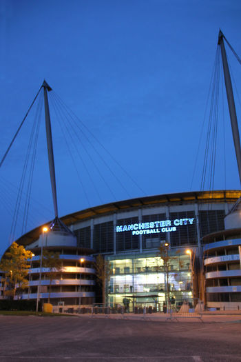Architecture Blue Blue Sky Bluecolor Building Exterior Built Structure City Dusk Football Fotball Fever Manchester ManchesterCity Mcfc Night No People Outdoors Sky