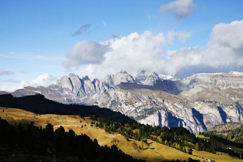 Autumn Colours Beauty In Nature Clouds And Sky Day Dolomites South Tyrol Südtirol Landscape Mountain Mountain Range Nature No People Outdoors Peaks Range Scenics Sella Group Sella Pass Sky Snow