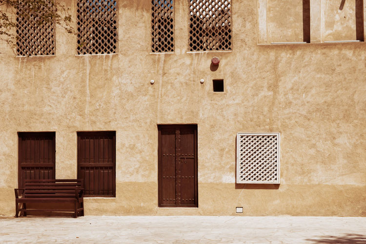Ancient doors on the streets of old dubai, close-up