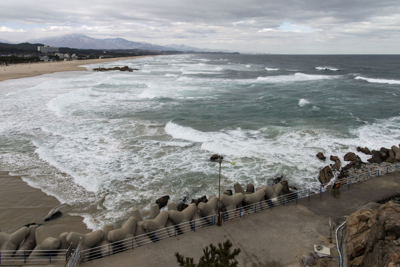 sea view of Hajodae Beach, Yangyang, Gangwondo, South Korea. Winter beach Beach Beauty In Nature Cloudy Day Hajodae. Landscape Motion Nature No People Outdoors Power In Nature Sea Seaside Surf Tide Water Wave Wave Windy Winter