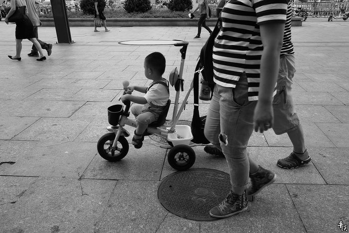 Real People Childhood Baby Stroller Leisure Activity Low Section Outdoors Men Horizontal Day Person People Togetherness Adult Human Body Part Black And White Photography Your Design Story Street Photography Street Photo Streetphoto_bw City Street Black & White Ricoh Gr Tianjin China City Black And White