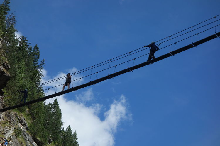 Reaching The Sky Sportsman Adventure Alps Blue Sky Bridge - Man Made Structure Go Higher Walking
