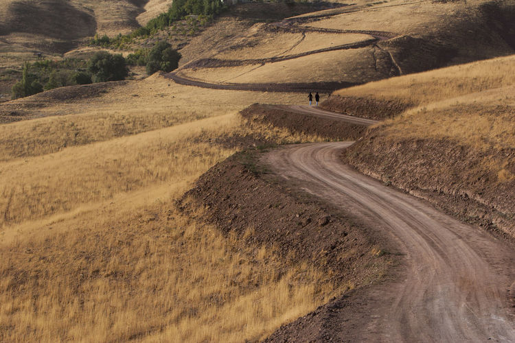 High Angle View Of Dirt Road On Land