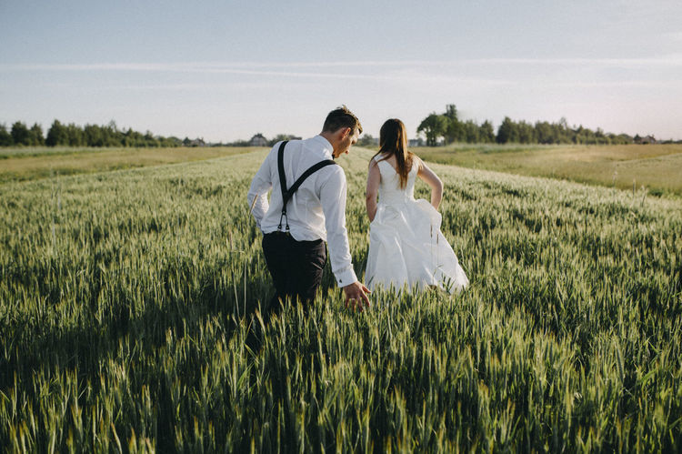 Wedding session Beautiful Beauty In Nature Bride Bridegroom Couple - Relationship Field Happiness Husband Landscape Love Married Morning Morning Light Nature Togetherness Wedding Wedding Dress Wedding Photography Wife Women