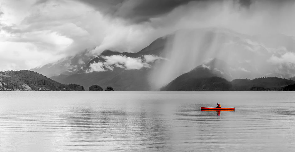 #CalmAndSerene #alone #kayak Beauty In Nature Cloud - Sky Day Lake Mountain Nature One Person Outdoors People Scenics Sky Tranquility Water