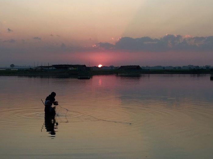 Ubeinbridge Myanmar Fisherman Sunset Tramonto Birmania Burma Pastel Power