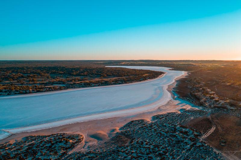 Aerial view of pink salt lake at sunset. murray-sunset national park, australia