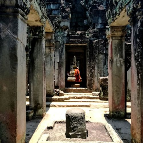 Monk in Preah Khan Temple, build in the 12th century, Cambodia. Architecture Ancient Civilization Religion Cambodia Preah Khan Monk  Temple South East Asia