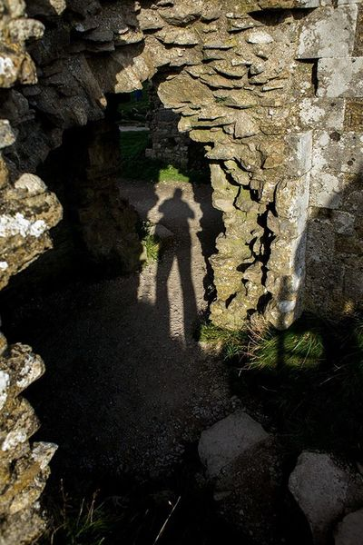 Shooting my own shadow at Corfe Castle. Corfe Castle Dorset Soaking Up The Sun Light And Shadow
