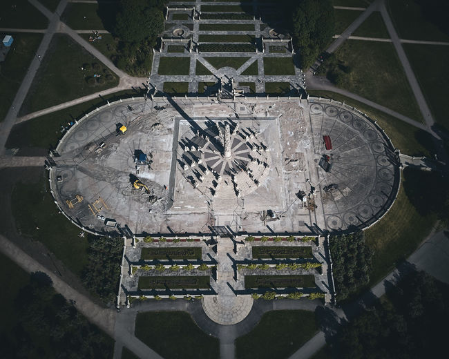 High angle view of patterned structure at park
